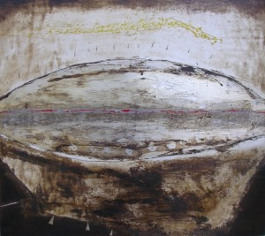 'SEGNI MODERNI'  2007   alluminiatura e smalto su tavola   93x83