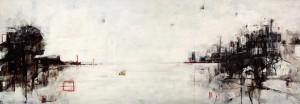 Kristina Milakovic  'Deadline' acrilico su tela 200x70 cm (dittico)